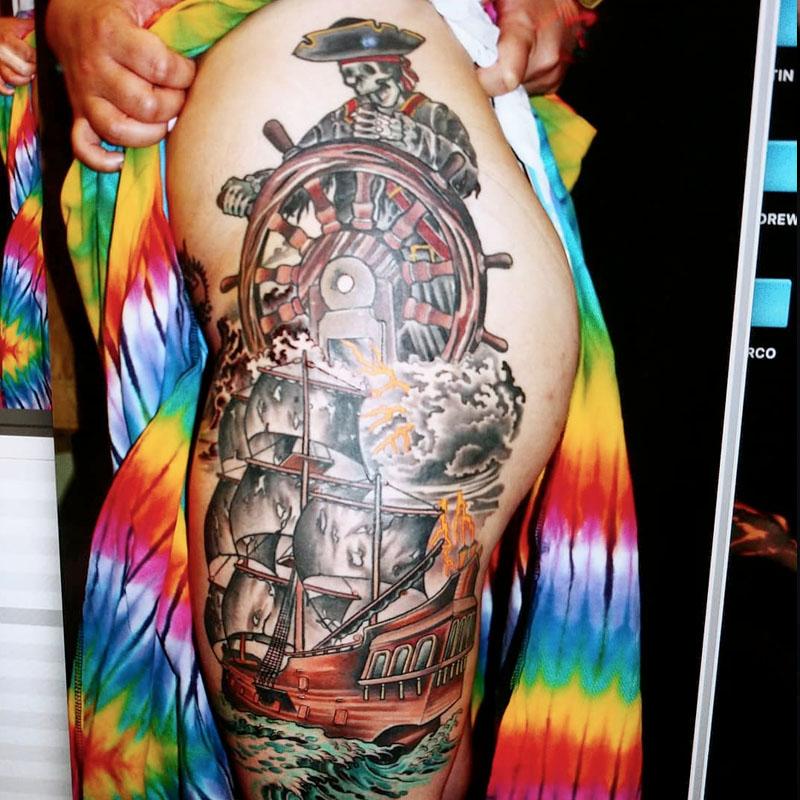 skeleton pirate tattoo