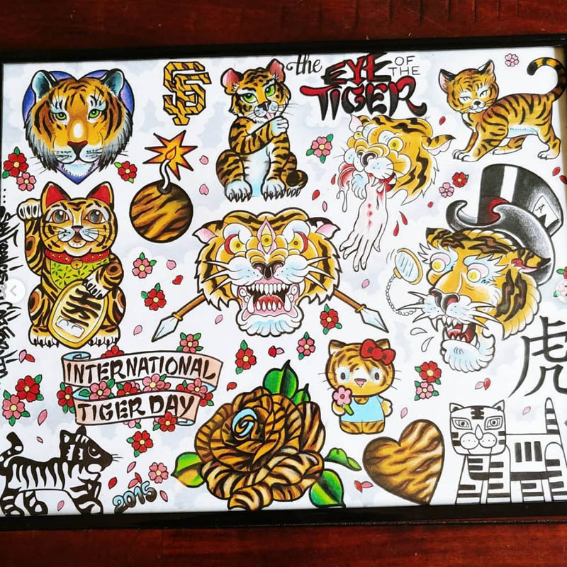 tiger tattoo flash page